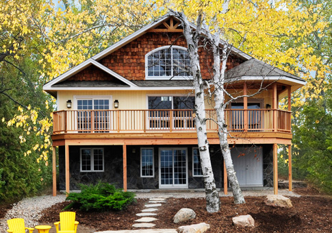 Birchview post beam retreats cottages post beam homes for Small post and beam cabin plans
