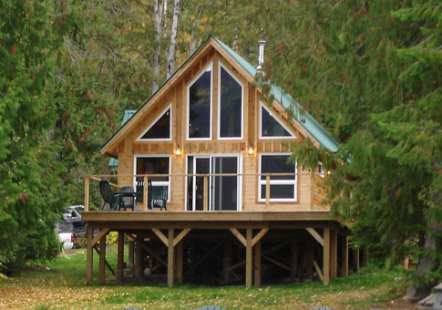 Falcon custom cabins garages post and beam homes cedar for Cedar cabin plans