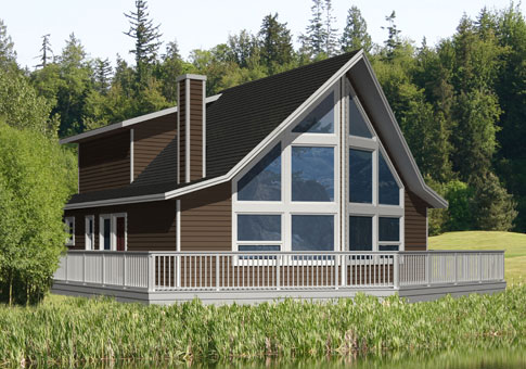 Alpine post beam retreats cottages post beam homes for Post and beam cottage designs