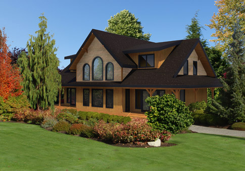 Dundarave custom retreats cottages cedar homes cedar for Post and beam home plans free