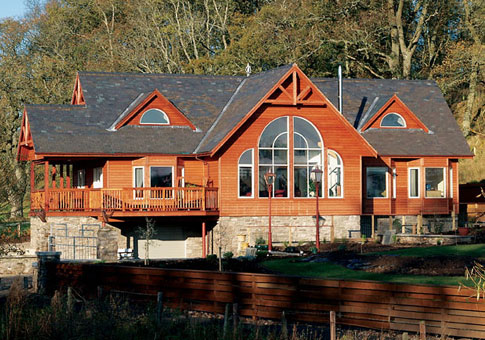 Perthshire custom retreats cottages cedar homes cedar for Post and beam cottage designs