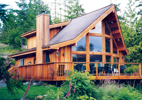 Vail post beam retreats cottages post beam homes cedar for Contemporary post and beam house plans
