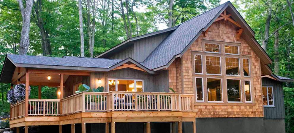 Cedar homes award winning custom homes post and beam for Small post and beam cabin plans
